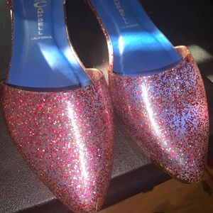 Jeffrey Campbell jelly flat shoes (pink glitter)